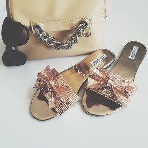 Rose Gold Mirrored Bow Sandals